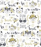 Modello senza cuciture del gatto di modo di vettore Illustrazione sveglia del gattino dentro royalty illustrazione gratis