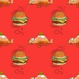 Modello senza cuciture del gatto grasso e dell'hamburger enorme royalty illustrazione gratis