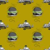 Modello senza cuciture del gatto grasso e dell'hamburger enorme illustrazione di stock