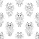Modello senza cuciture del gatto lanuginoso, stile dello zentangle Schizzo a mano libera royalty illustrazione gratis