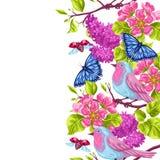 Modello senza cuciture del giardino della primavera Illustrazione naturale con il fiore del fiore, l'uccellino del pettirosso e l Fotografie Stock Libere da Diritti
