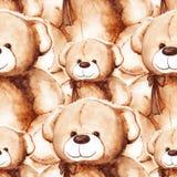 Modello senza cuciture del giorno di Teddy Bear Saint Valentine adorabile del fumetto Fotografia Stock Libera da Diritti
