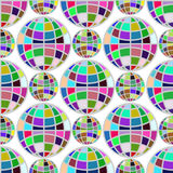 Modello senza cuciture del globo multicolore su fondo bianco Fotografia Stock