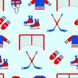 Modello senza cuciture del hockey su ghiaccio Struttura ripetuta vettore Fondo del modello del hockey su ghiaccio del ` s degli u illustrazione vettoriale