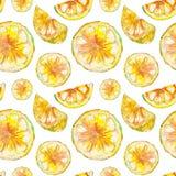 Modello senza cuciture del limone disegnato a mano dell'acquerello illustrazione di stock