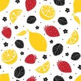 Modello senza cuciture del limone e della fragola isolato su fondo bianco Illustrazione di vettore Fotografia Stock