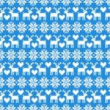 Modello senza cuciture del maglione di Natale di vettore con i cervi su fondo blu illustrazione di stock