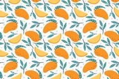 Modello senza cuciture del mango Illustrazione dolce gastronomica del fondo di vettore dei manghi di scarabocchio disegnato a man illustrazione di stock
