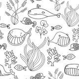 Modello senza cuciture del mare oceanico in bianco e nero con la balena sveglia Grande fondo per l'invito del partito del mare o  royalty illustrazione gratis