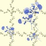 Modello senza cuciture del mazzo con i fiori blu nel telaio dei rami beige su un fondo giallo watercolor royalty illustrazione gratis
