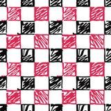 Modello senza cuciture del nero e dei quadrati rossi stilizzati su un fondo bianco illustrazione vettoriale
