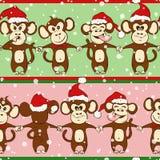 Modello senza cuciture del nuovo anno con tenersi per mano della scimmia Fotografia Stock