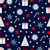 Modello senza cuciture del nuovo anno e di Natale con gli alberi, fiocchi di neve, dolci, regali, stelle, giocattoli Progettazion illustrazione vettoriale