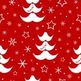 Modello senza cuciture del nuovo anno Fiocchi di neve, stelle, alberi di Natale in baffi della forma di Santa Claus Immagini Stock Libere da Diritti