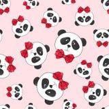 Modello senza cuciture del panda sul rosa illustrazione di stock