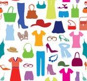 Modello senza cuciture del panno di modo Vestiti ed accessori delle donne r Fotografie Stock