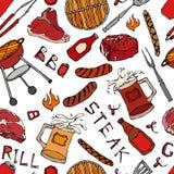 Modello senza cuciture del partito della griglia del BBQ di estate Bistecca, salsiccia, griglia del barbecue, tenaglie, forcella, Fotografie Stock