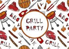 Modello senza cuciture del partito della griglia del BBQ di estate Bistecca, salsiccia, griglia del barbecue, tenaglie, forcella, Fotografia Stock