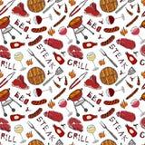 Modello senza cuciture del partito della griglia del BBQ di estate Vetro di rosso, di Rosa e della vite bianca, bistecca, salsicc Fotografia Stock