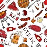 Modello senza cuciture del partito della griglia del BBQ di estate Vetro di VineSteak rosso e bianco, salsiccia, griglia del barb Fotografie Stock