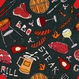 Modello senza cuciture del partito della griglia del BBQ di estate Vetro di VineSteak rosso e bianco, salsiccia, griglia del barb Fotografie Stock Libere da Diritti