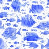Modello senza cuciture del pesce dell'acquerello viola di vettore Fotografia Stock Libera da Diritti