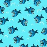 Modello senza cuciture del pesce di mare arrabbiato Royalty Illustrazione gratis