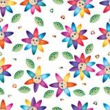 Modello senza cuciture del petalo variopinto di sorriso del fiore di farfalla della foglia del fumetto royalty illustrazione gratis