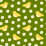 Modello senza cuciture del piccolo uccello giallo sveglio Fotografia Stock