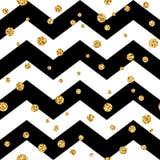 Modello senza cuciture del pois dorato Il nero 1 di zigzag di scintillio dei coriandoli dell'oro Immagine Stock