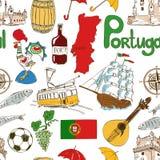 Modello senza cuciture del Portogallo di schizzo Fotografie Stock Libere da Diritti