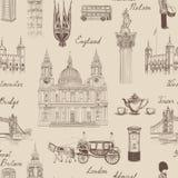 Modello senza cuciture del punto di riferimento di Londra Viaggio Europa l imprecisa di scarabocchio illustrazione di stock