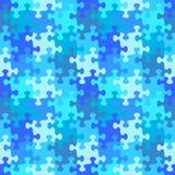 Modello senza cuciture del puzzle di acqua o di colori del blu di inverno Fotografie Stock