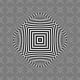 Modello senza cuciture del quadrato in bianco e nero di illusione ottica con la sfera 3D Fotografie Stock