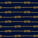 Modello senza cuciture del quadro televisivo del nodo marino della corda Illustrazione nautica Fotografie Stock