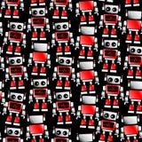 Modello senza cuciture del robot poco rosso e bianco Fotografie Stock