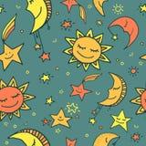 Modello senza cuciture del sole, della luna e delle stelle Fotografia Stock Libera da Diritti