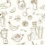 Modello senza cuciture del succo fresco Illustrazione d'annata per progettazione Fotografia Stock
