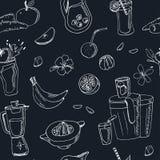 Modello senza cuciture del succo fresco Illustrazione d'annata per progettazione Immagine Stock Libera da Diritti
