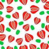 Modello senza cuciture del taglio delle fragole Illustrazione Vettoriale