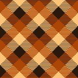 Modello senza cuciture del tessuto a quadretti del tartan in marrone ed in arancio, vettore Fotografia Stock Libera da Diritti