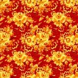 Modello senza cuciture del tessuto rosso con i fiori dorati illustrazione vettoriale