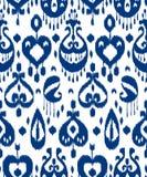 Modello senza cuciture del tessuto tradizionale asiatico blu e bianco del ikat, vettore Fotografia Stock