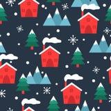 Modello senza cuciture del villaggio di tema di Natale e di inverno royalty illustrazione gratis