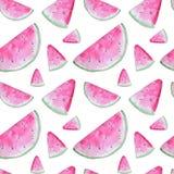 Modello senza cuciture dell'acquerello dell'anguria dipinta a mano di rosa illustrazione vettoriale