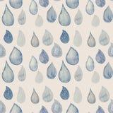 Modello senza cuciture dell'acquerello astratto con il blu e il wh delle gocce di pioggia illustrazione di stock