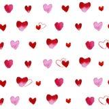 Modello senza cuciture dell'acquerello con cuore rosso e rosa su bianco Fotografie Stock Libere da Diritti