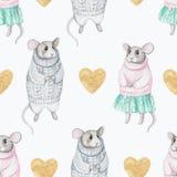 Modello senza cuciture dell'acquerello con due topi e cuore dorato Fotografia Stock