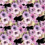 Modello senza cuciture dell'acquerello con gli anemoni e le farfalle Carta da parati botanica romantica illustrazione di stock