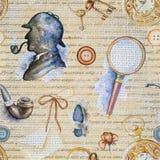 Modello senza cuciture dell'acquerello con gli oggetti di Sherlock Holmes illustrazione vettoriale